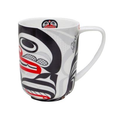 Porcelain Mug-Killer Whale Crosshatch design by Cory Wilson-1