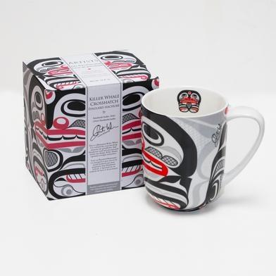 Porcelain Mug-Killer Whale Crosshatch design by Cory Wilson-2