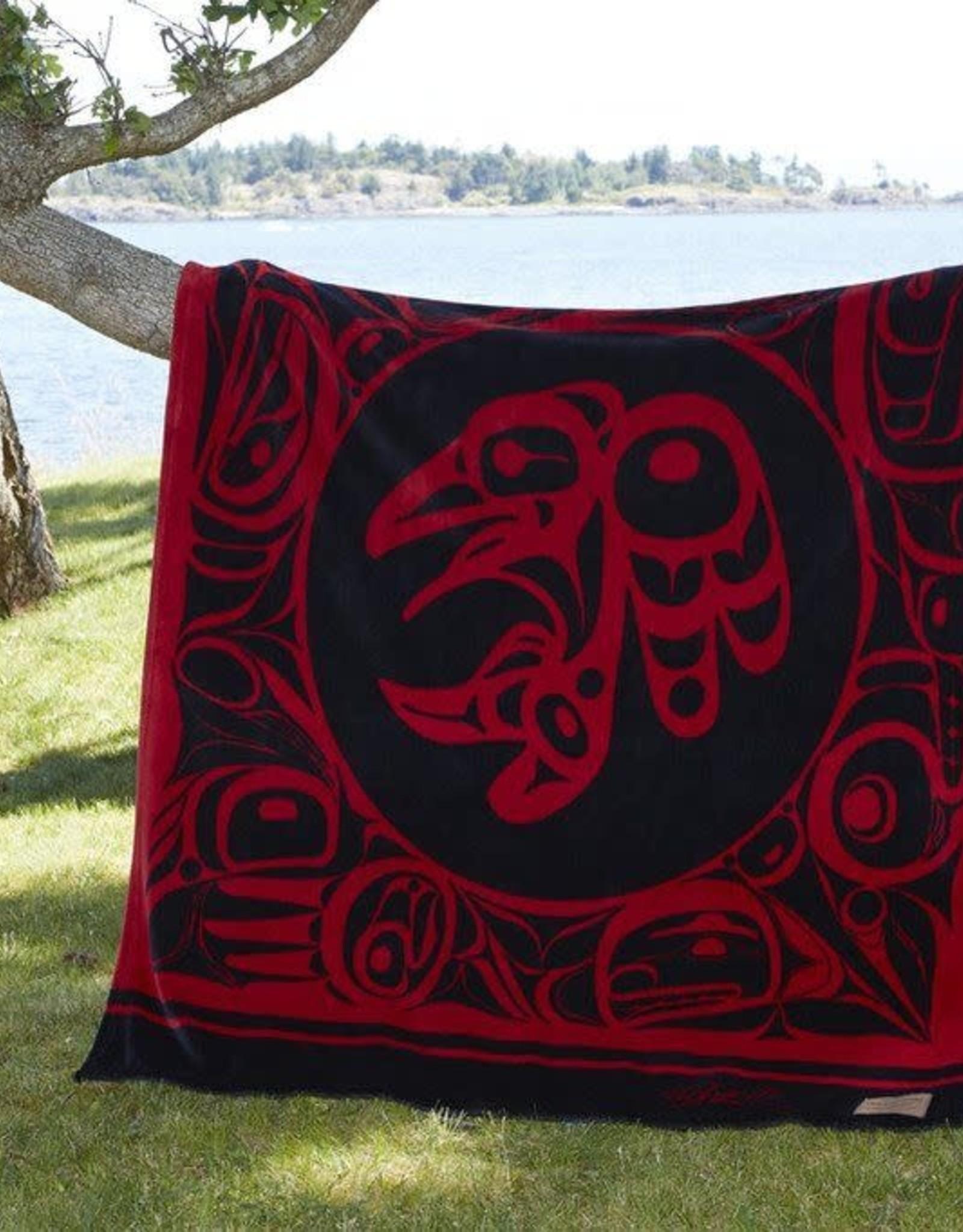 Kanata Blanket-Raven/ Red by Bill Helin