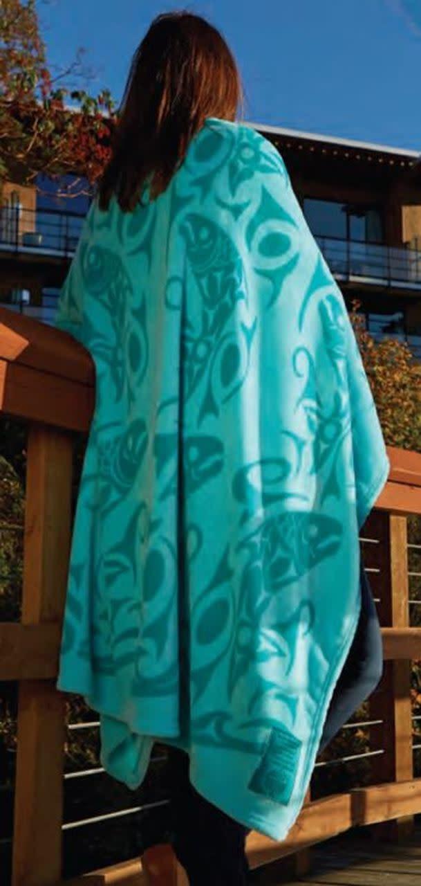 Kanata Blanket-Returning of the Salmon (Teal) by Debra Sparrow-1