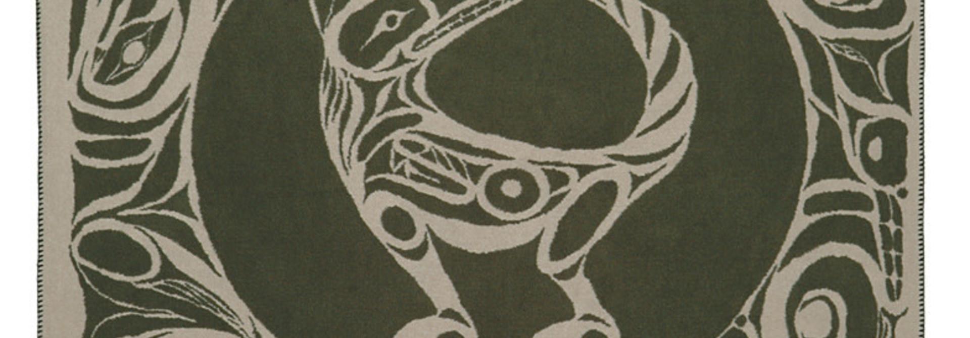 Kanata Blanket-Wolf (green/tan) by Bill Helin