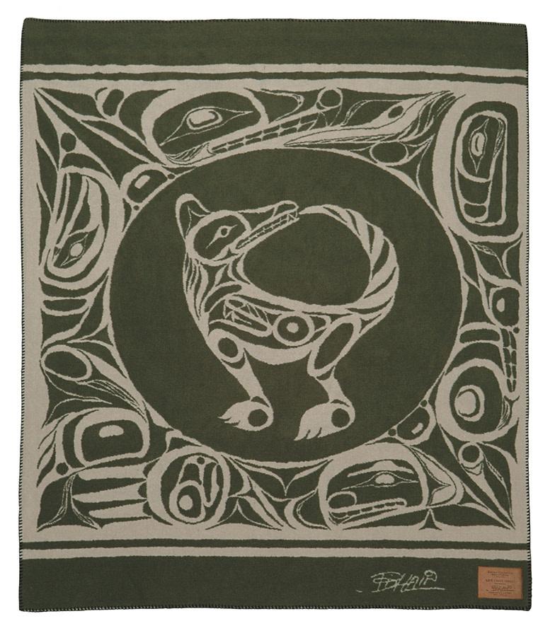 Kanata Blanket-Wolf (green/tan) by Bill Helin-1