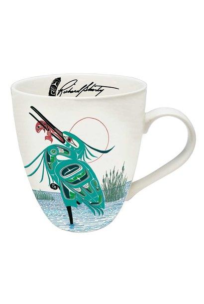 Porcelain Artist Mug - Green Heron by Richard Shorty