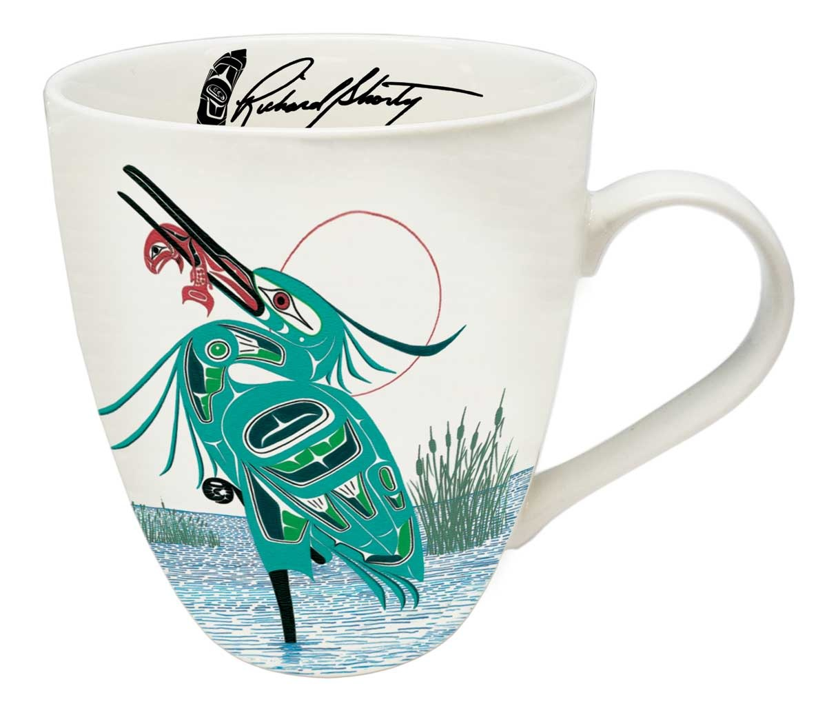 Porcelain Artist Mug - Green Heron by Richard Shorty-1