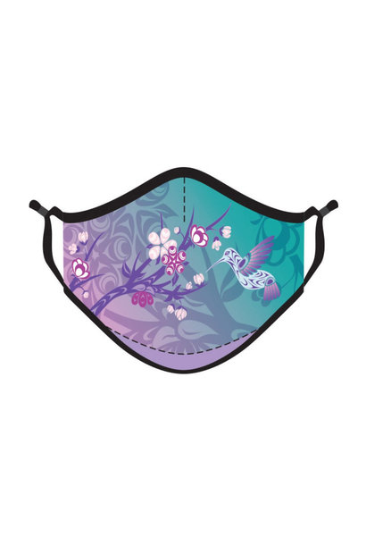 Reusable 4 ply  Face Mask- Hummingbird & Blossoms by Simone Diamond