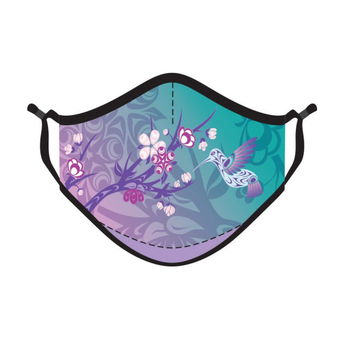 Reusable 4 ply  Face Mask- Hummingbird & Blossoms by Simone Diamond-1
