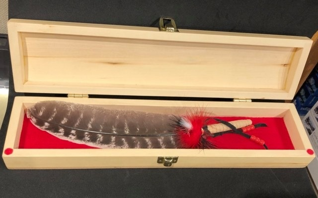 Handcrafted Feather Box - Yellow Cedar-1
