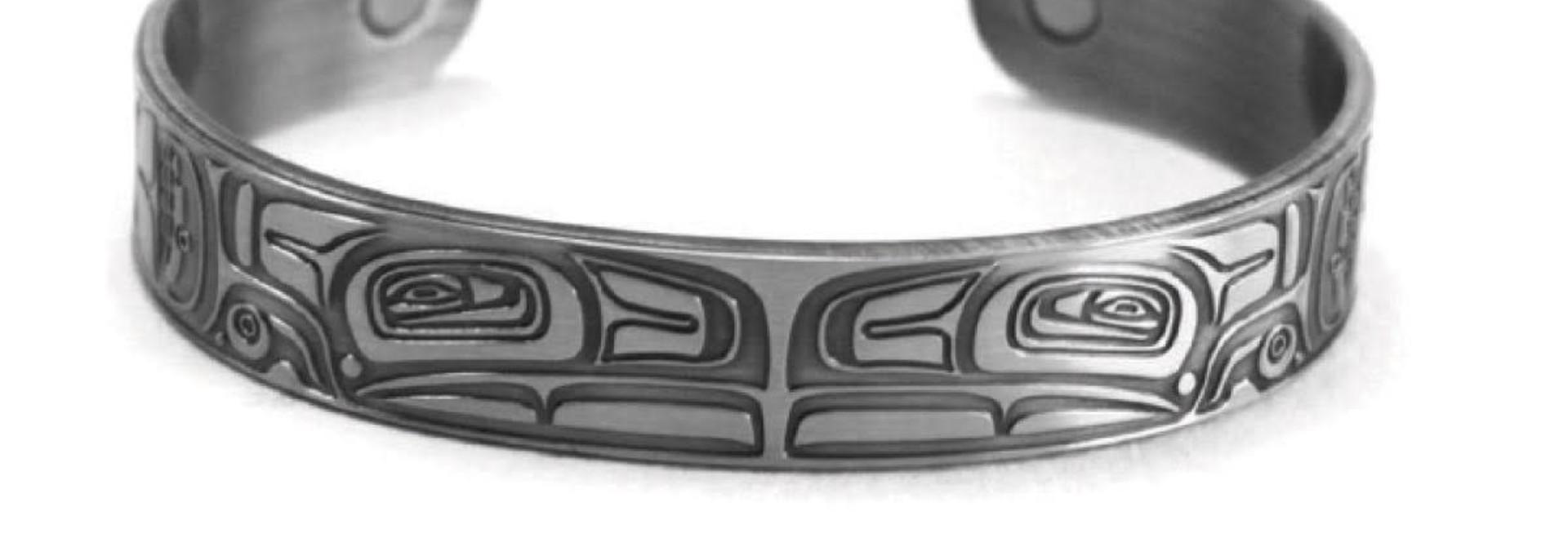 Brushed Silver Bracelet -Thunderbird by Morgan Asoyuf