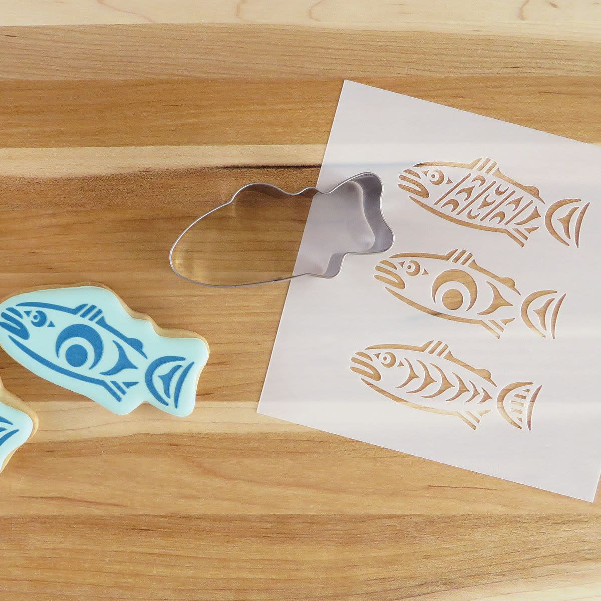 Cookie Cutter & Stencil Set Salmon in the Wild by Simone Diamond-1