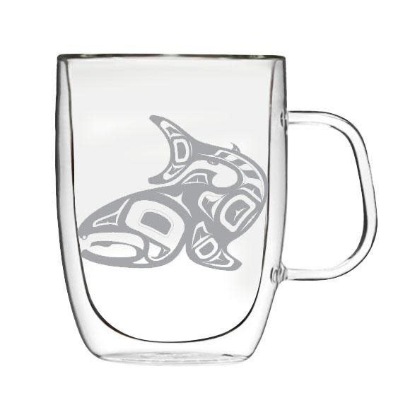 10oz Clear Double wall Mug- Salmon Jamie Sterritt-1