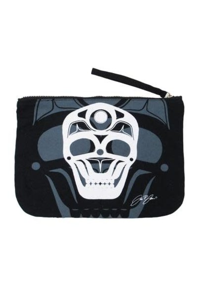 Eco Zipper Pouch - Skull by James Johnson