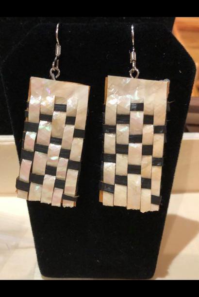 Hand Woven Cedar & Abalone Earrings - 1
