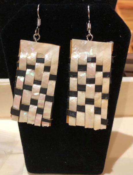 Hand Woven Cedar & Abalone Earrings - 1-1