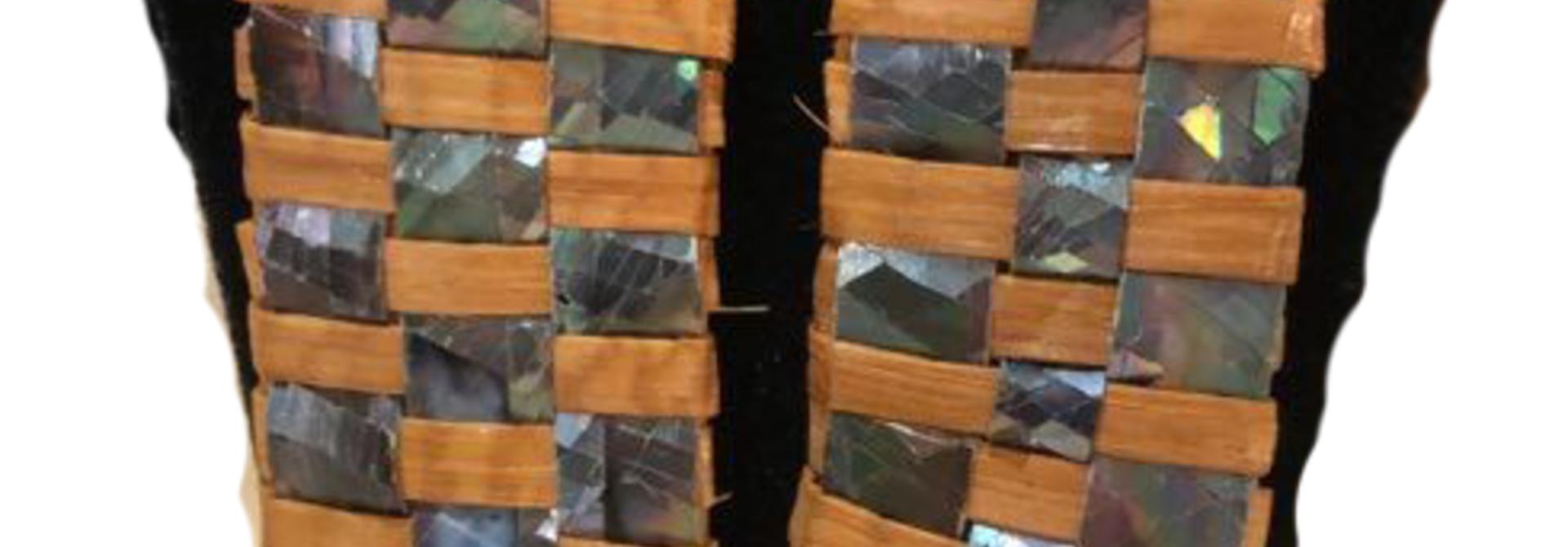 Hand Woven Cedar & Abalone Earrings - 2