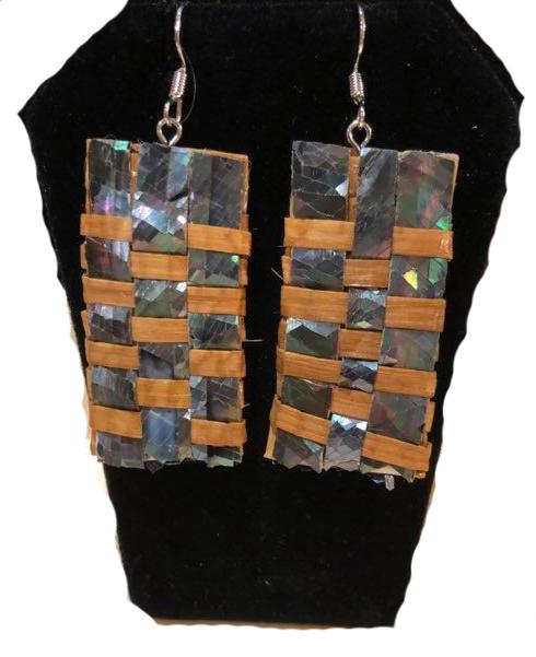 Hand Woven Cedar & Abalone Earrings - 2-1