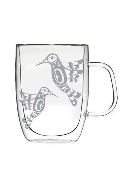 Double-Wall Glass Mug with Etched Hummingbird by Francis Dick
