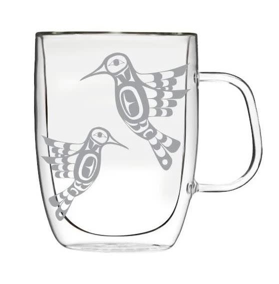 Double-Wall Glass Mug with Etched Hummingbird by Francis Dick-1