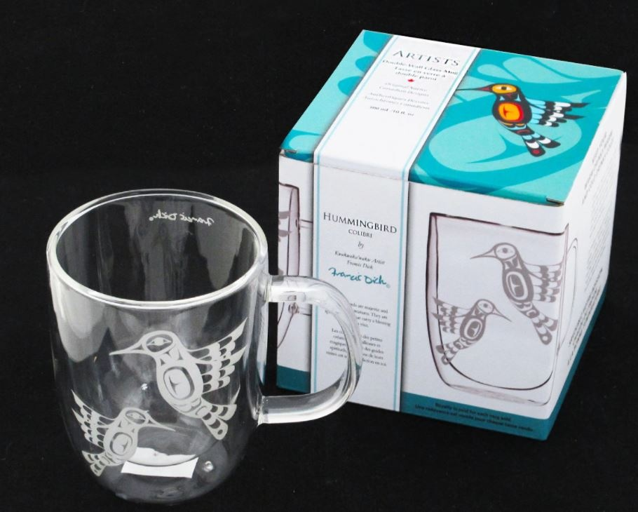 Double-Wall Glass Mug with Etched Hummingbird by Francis Dick-2
