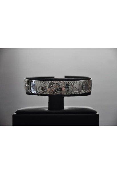 "1/2"" Carved Silver Bracelet - Bear design by Nancy Dawson"