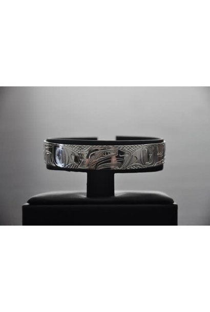 "1/2"" Carved Silver Bracelet -Hummingbird design by Nancy Dawson"