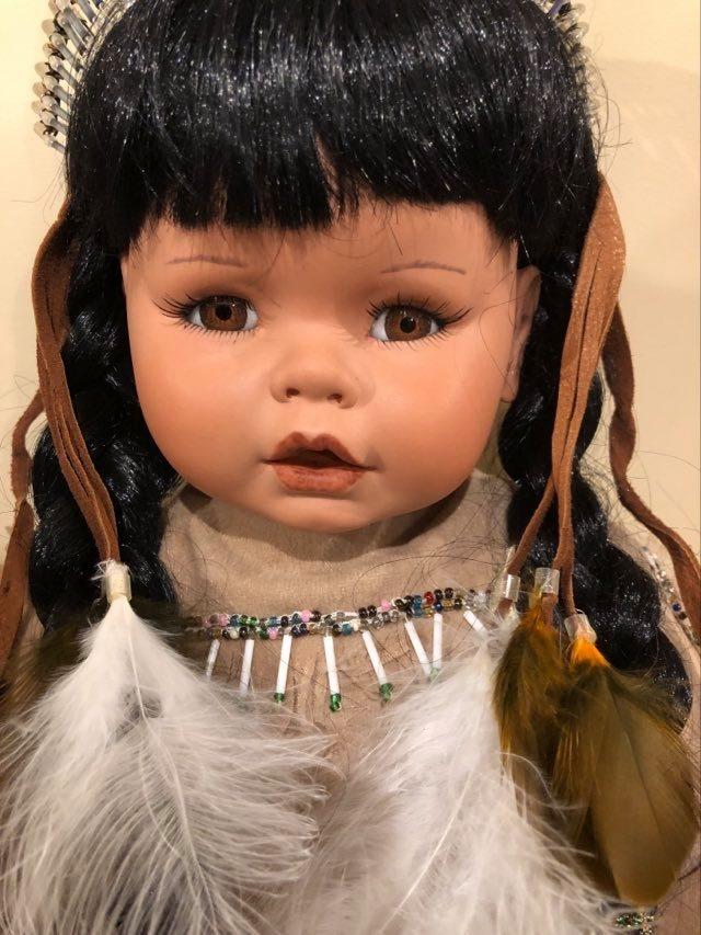 "Vintage Hand Painted 20"" Porcelain Doll-1"