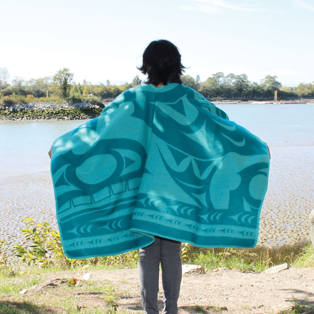 Reversible Wrap Teal - Whale by Doug Horne-2