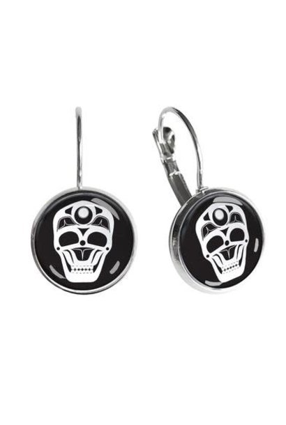 Dome Glass Earrings - Skull by James Johnson