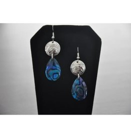 Silver Carved Earrings w Eagle design & Paua Shell