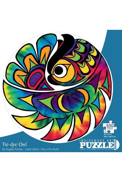 Circle Puzzle 500 pc. - Tie-Dye Owl by Angela Kimble