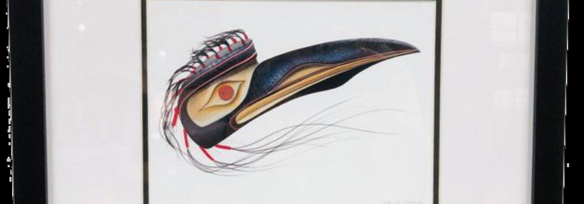 Framed And Matted Art Card- Raven -Tobacco Garnet