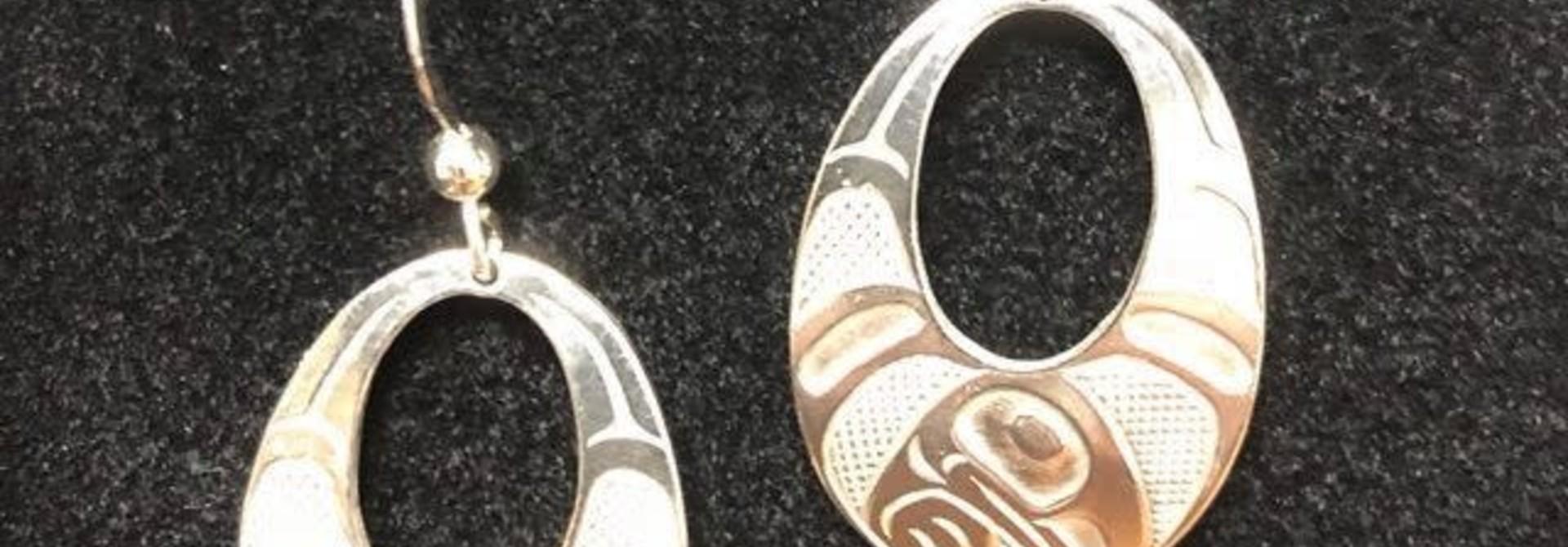 Silver Pewter Earrings -Raven Wings by Bill Helin