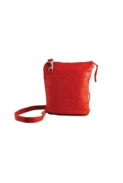 Compact Crossbody Bag Deerskin Bear Box Design Red
