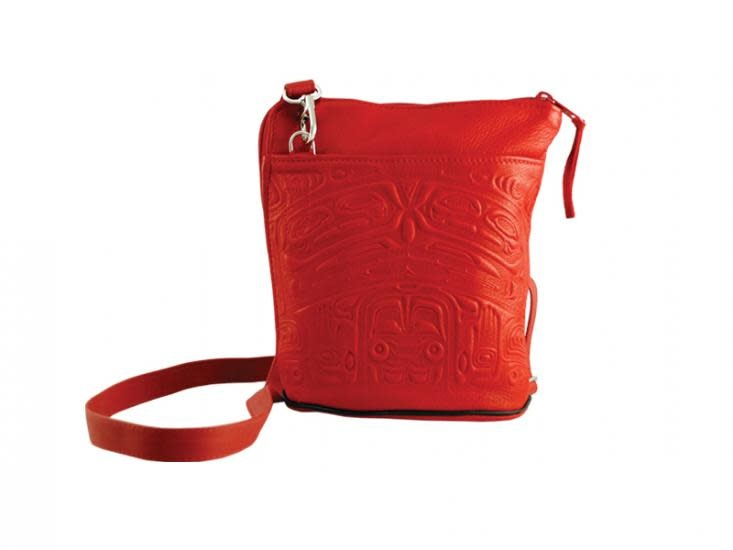 Compact Crossbody Bag Deerskin Bear Box Design Red-1