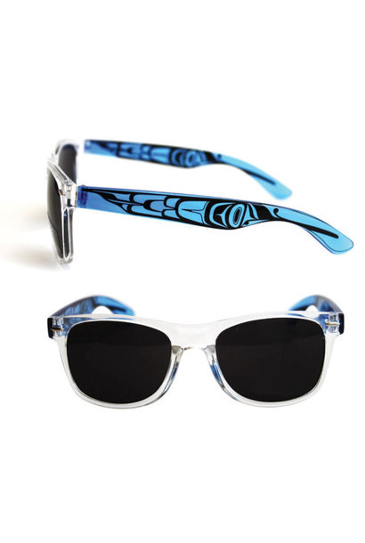 Polarized Sunglasses with Clear Fronts & Designed clear colored sides.