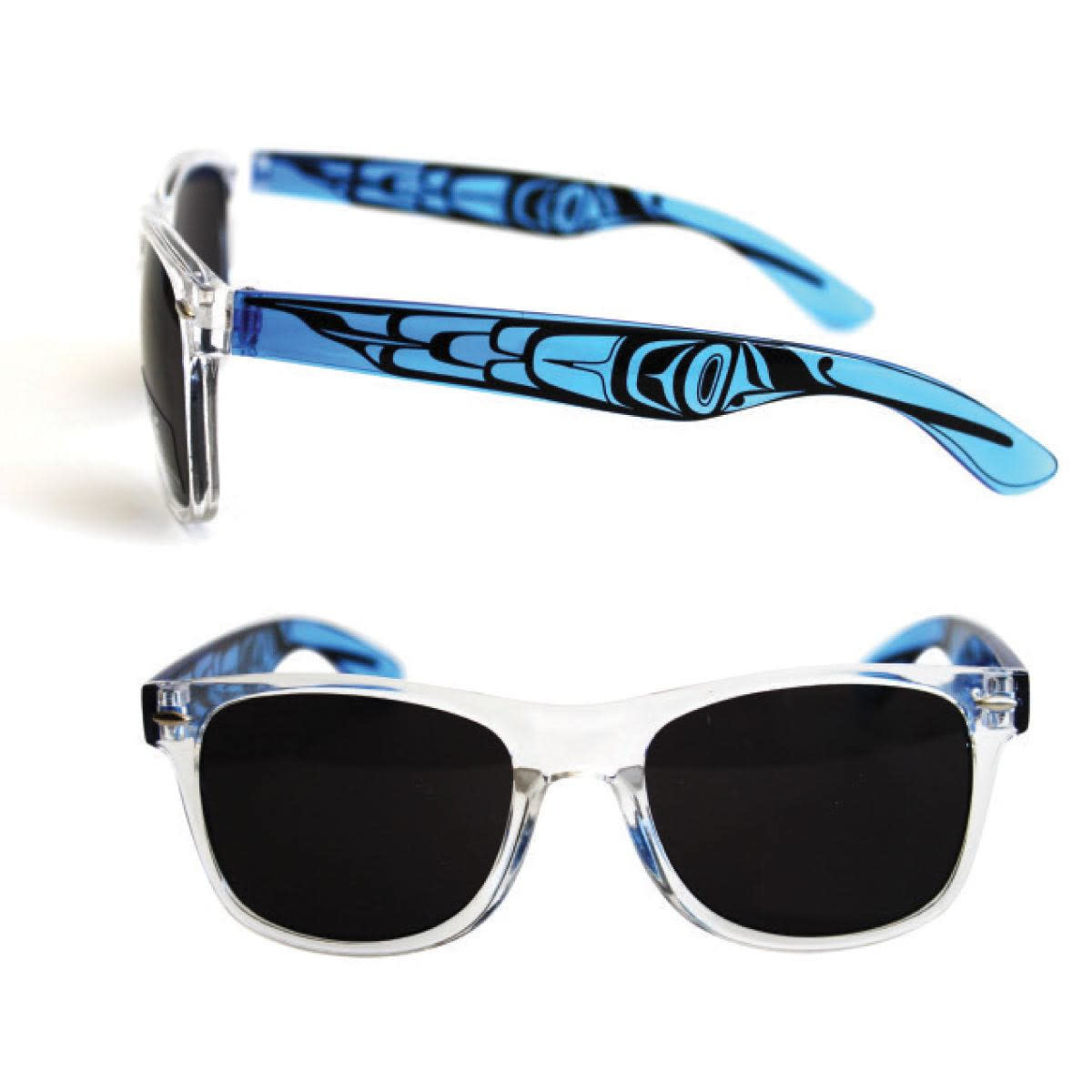 Polarized Sunglasses with Clear Fronts & Designed clear colored sides.-2