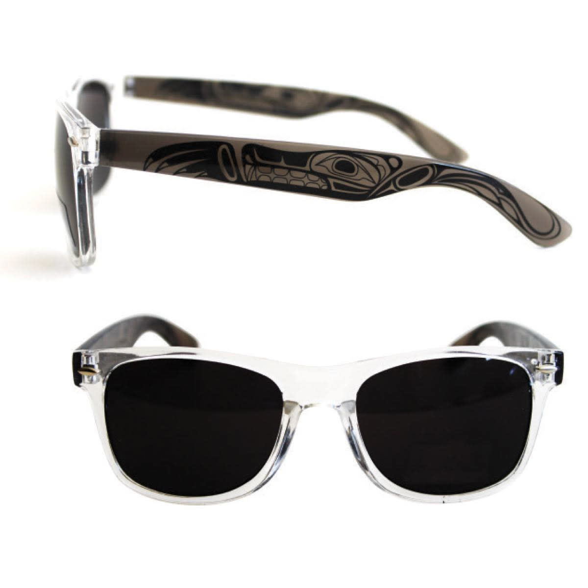 Polarized Sunglasses with Clear Fronts & Designed clear colored sides.-1