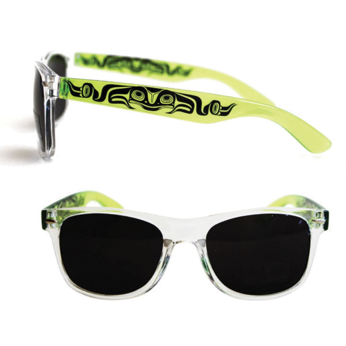 Polarized Sunglasses with Clear Fronts & Designed clear colored sides.-4