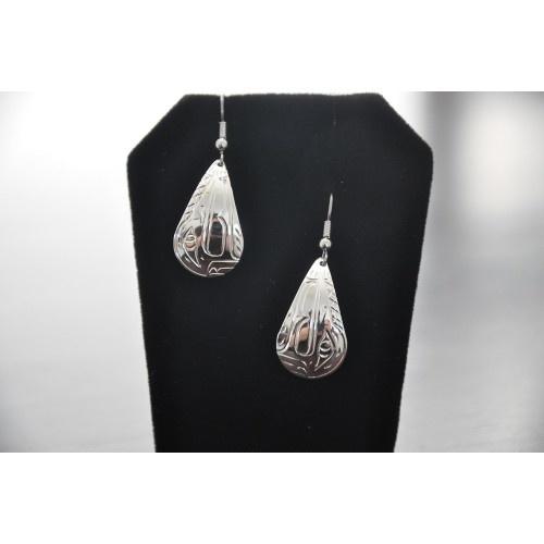 Silver carved Raven earrings - Vincent Henson-1