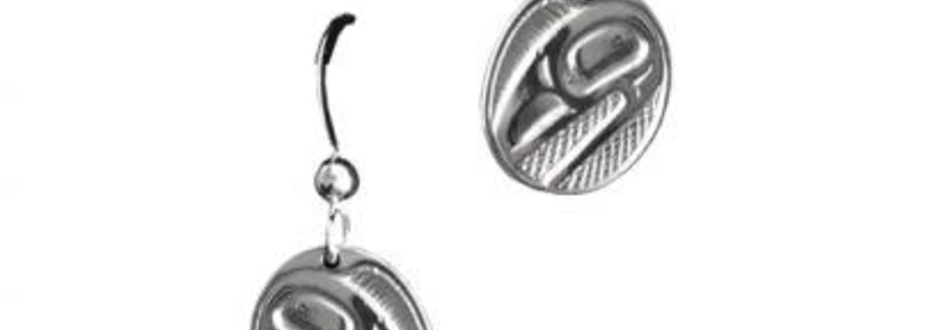 Raven Sunlight Oval silver pewter earrings-Bill Helin