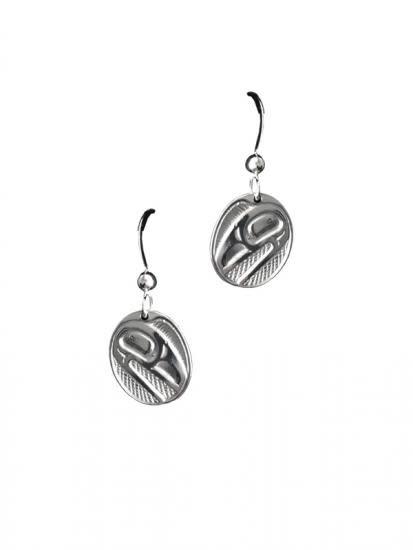 Raven Sunlight Oval silver pewter earrings-Bill Helin-1