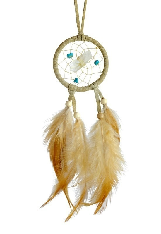 "2"" Vision Seeker Tan Dream Catcher with Stone-1"