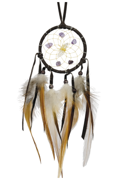 "2.5""  Vision Seeker dream Catcher Dark Brown with stones"