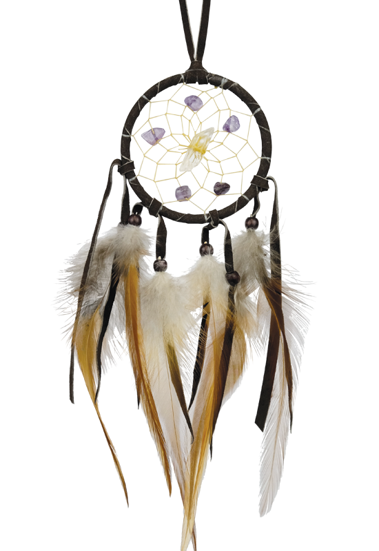 "2.5""  Vision Seeker dream Catcher Dark Brown with stones-2"