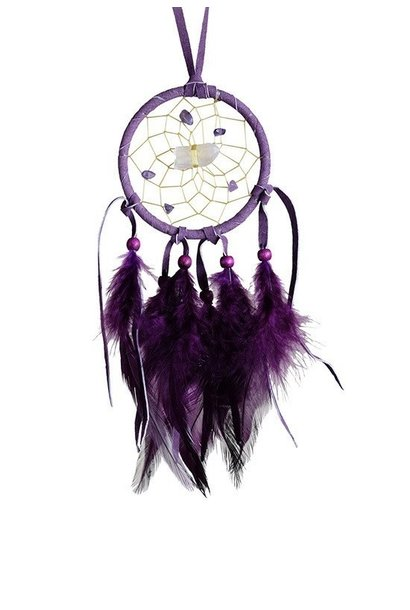 "2.5"" Vision Seeker Dream Catcher Purple with stones"