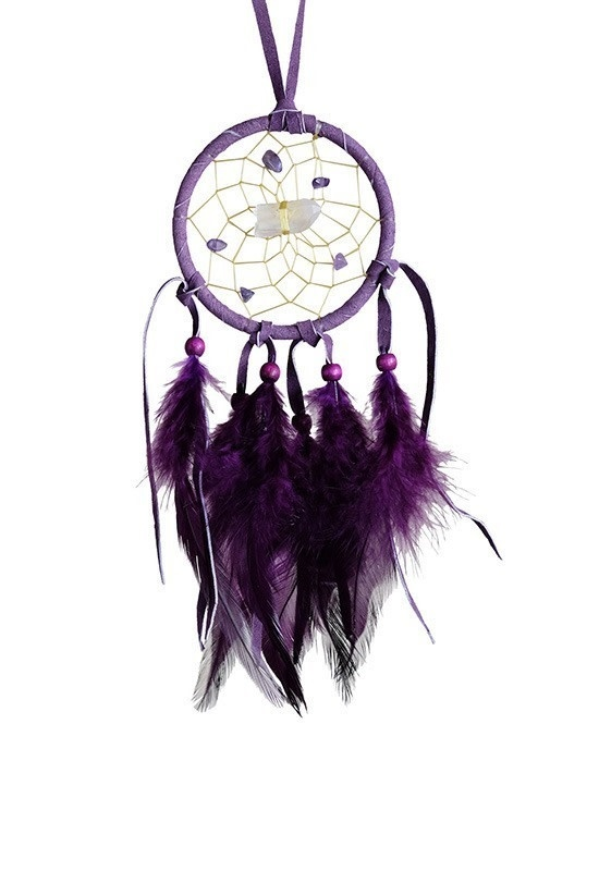 "2.5"" Vision Seeker Dream Catcher Purple with stones-1"