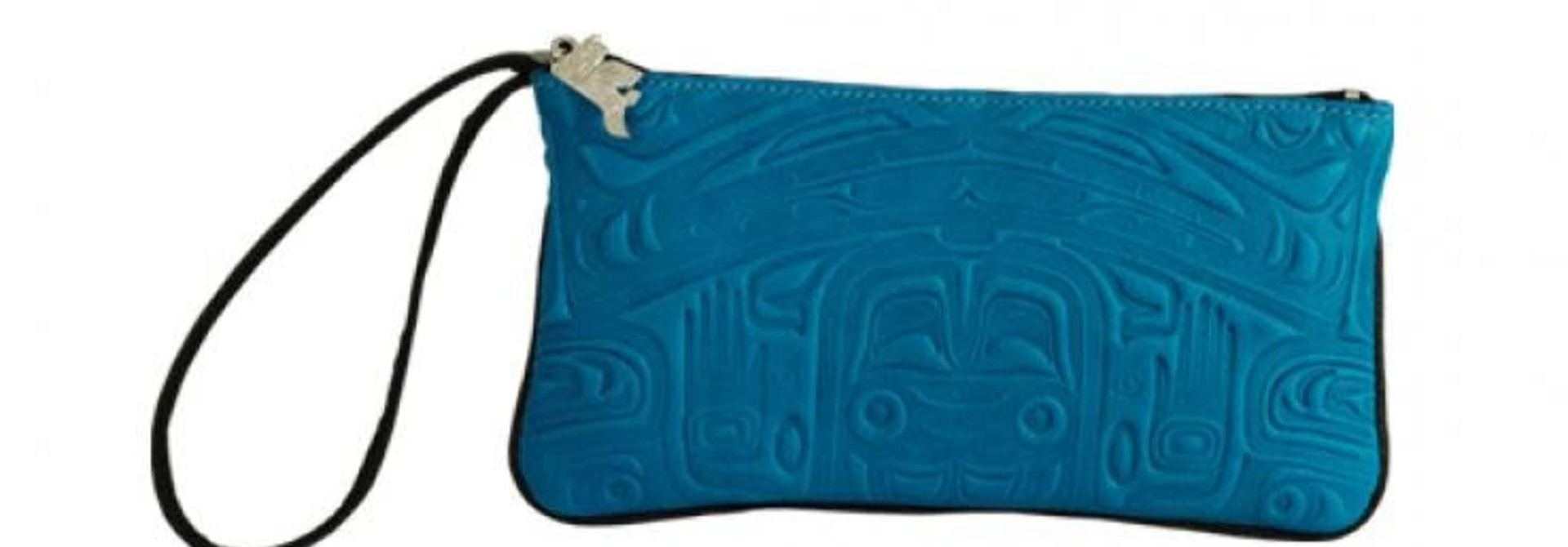 Leather Wristlet in Bearbox Design - Turquoise