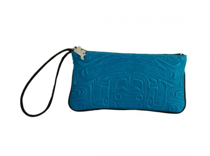 Leather Wristlet in Bearbox Design - Turquoise-1