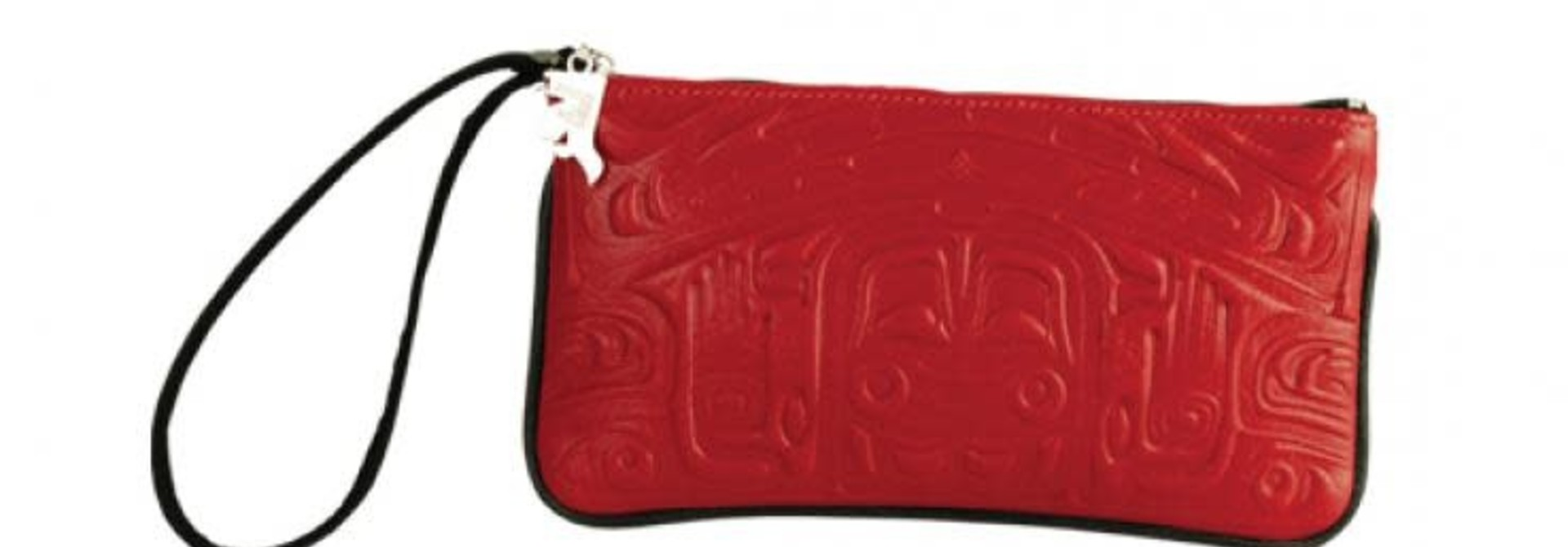 Leather Wristlet in Bearbox Design - Red