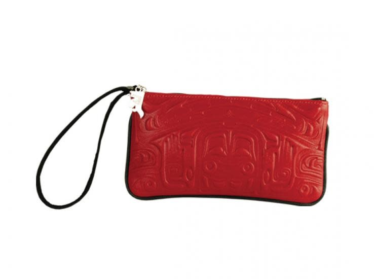 Leather Wristlet in Bearbox Design - Red-1