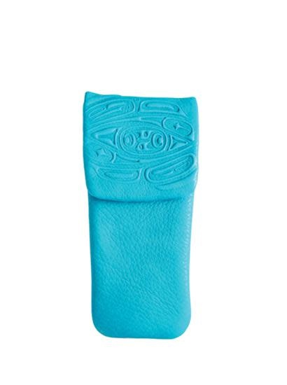 Leather Eyeglass Case - Turquoise Embossed w Raven by Corrine Hunt-1